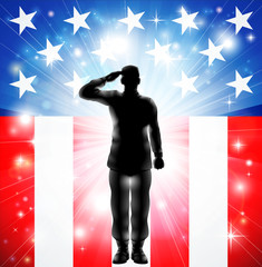 Fotobehang Superheroes US flag military armed forces soldier silhouette saluting