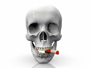 a skull  smoking a cigarette