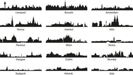 vector city skyline icons