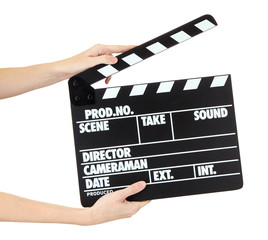 Movie production clapper board isolated on white
