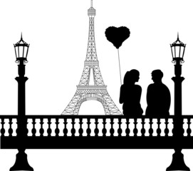 Couple in love on Valentine's Day in front of Eiffel tower
