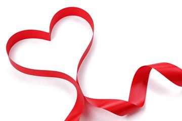 Heart shape red ribbon