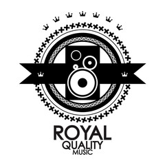 Black retro vintage label | tag | badge | royal quality music