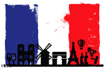 In de dag Doodle France flag and silhouettes