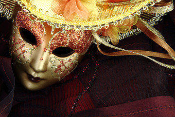 Wall Mural - Vintage carnival mask on black background