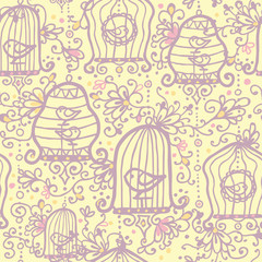 Recess Fitting Birds in cages Vector doodle birdcages seamless pattern background with hand