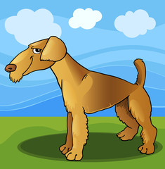 Tuinposter Honden airedale terrier dog cartoon illustration