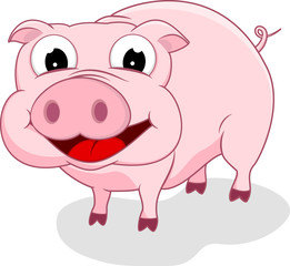Cartoon Happy Pig Vector