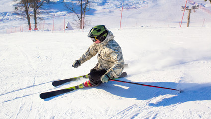 Skier in the rotation at the ski resort