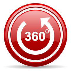 360 degrees panorama red glossy icon on white background