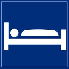 Fototapete - Schild blau - Übernachtungsmöglichkeit