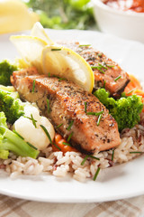Grilled salmon steak vith cooked rice