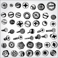 Pins and nails hand drawn