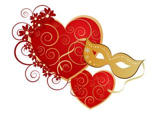 Herzen mit goldener Maske