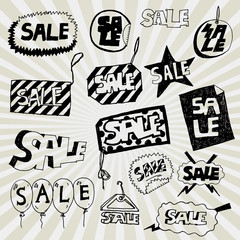 Sale Banners Hand Drawn