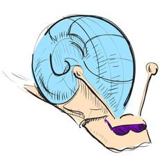 Cartoon snail in sunglasses