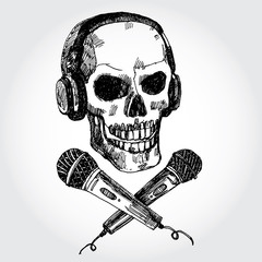 Hand Drawn Skull with Microphones