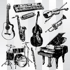 Music Instruments Hand Drawn