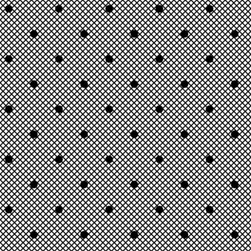 Black lace pattern with Dots on a white background