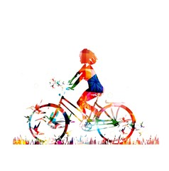 Colorful vector girl with bike