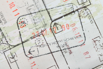 Immigration stamps on passport page