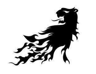Löwenkopf mit Flammen, Tattoo