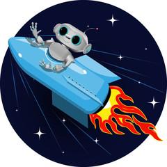 Spoed Foto op Canvas Robots robot on the space rocket