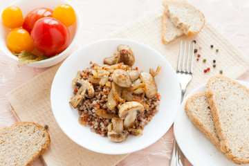nutritious buckwheat porridge, top view