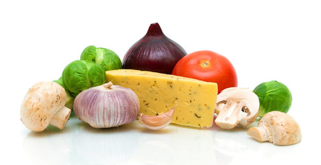 mushrooms, cheese and vegetables on white background