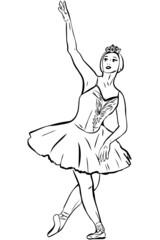 a sketch the ballet-dancer of ballet dances dance of swan