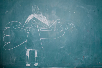 Drawing of angel princess on chalkboard by child