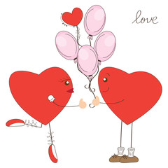 Valentine day greeting. Heart boy present balloons to heart girl
