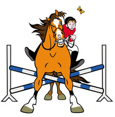 caricature horse showjumping