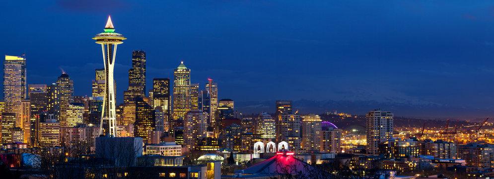 Seattle skyline panorama with Space Needle at dusk, WA, USA