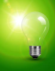 Light bulb on green, sunny background