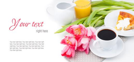 Elegant breakfast, serving, ready template
