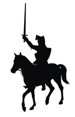 Aluminium Prints Knights Knight with sword on horseback vector silhouette