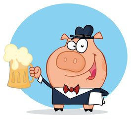 Happy Waiter Pig Waiter Holding Up A Mug Of Frothy Beer