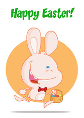 Happy Easter Greeting Over An Exited Running Pink Bunny
