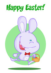 Happy Easter Greeting Over An Exited Running Purple Bunny