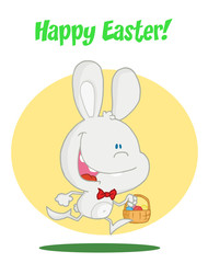 Happy Easter Greeting Over An Exited Running White Bunny