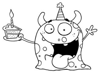 Outlined Birthday Monster