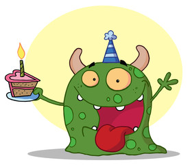 Happy Green Birthday Monster Wearing A Party Hat