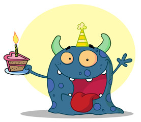 Blue Birthday Monster And Holding A Slice Of Cake