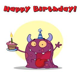 Happy Birthday Text Above A Purple Birthday Monster