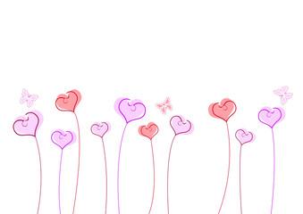 Floraison de coeurs avec papillons - Saint Valentin
