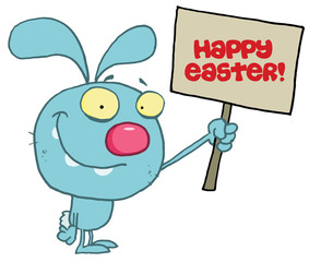 Grinning Blue Rabbit Holding Up A Happy Easter Greeting Sign
