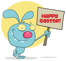 Blue Bunny Rabbit Holding Up A Happy Easter Greeting Sign