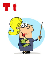 Funny Cartoons Alphabet-Female Teacher With Letters T