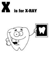 Outlined Tooth Holding An Xray With X Is For Xray Text
